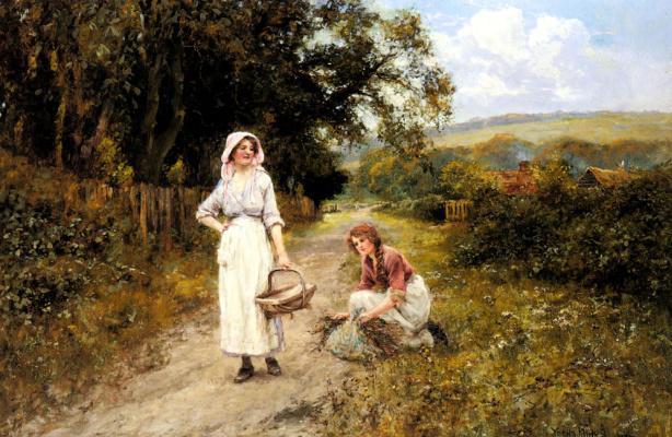 Генри Джон Кинг. Пейзаж с собирателями хвороста