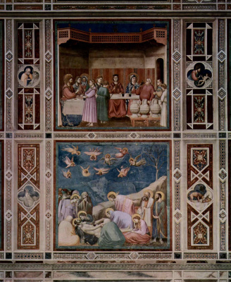 Murals: Marriage in Cana. Lamentation of Christ. Scenes from the life of Christ