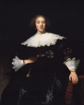 Рембрандт Харменс ван Рейн. Портрет молодой женщины с веером