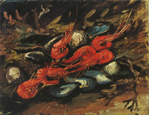 Vincent van Gogh. Still life with mussels and shrimp
