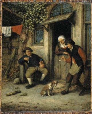 Adrian Jans van Ostade. Men smoke at the door of a peasant house