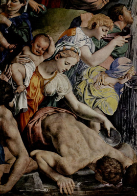 Agnolo Bronzino. Moses cuts water from the rock