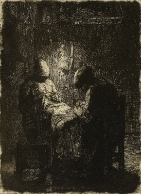 Jean-François Millet. Vigil. Seamstresses at night work