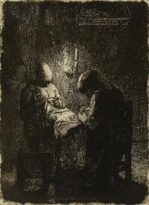 Jean-François Millet. Vigil. Seamstresses at night work
