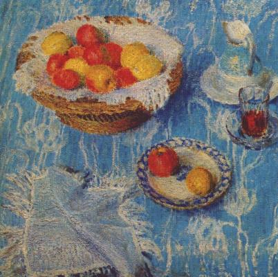 Igor Nobel Grabar. Blue tablecloth