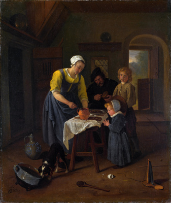 Jan Steen. Peasant family at meals (Prayer before meals)