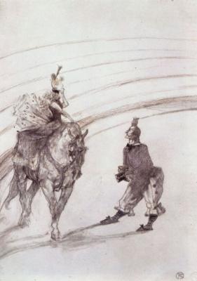 Henri de Toulouse-Lautrec. Au Cirque Ecuyere de panneau