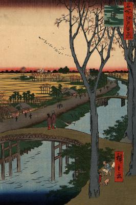 """Утагава Хиросигэ. Набережная Коумэ. Серия """"100 знаменитых видов Эдо"""""""