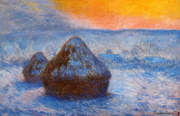 Claude Monet. Haystacks at sunset, snow effect