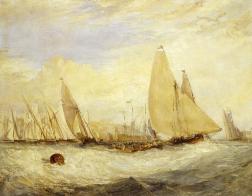 Joseph Mallord William Turner. Lock East Cowes, estate of George. Nash, Esquire. Regatta goes against the wind
