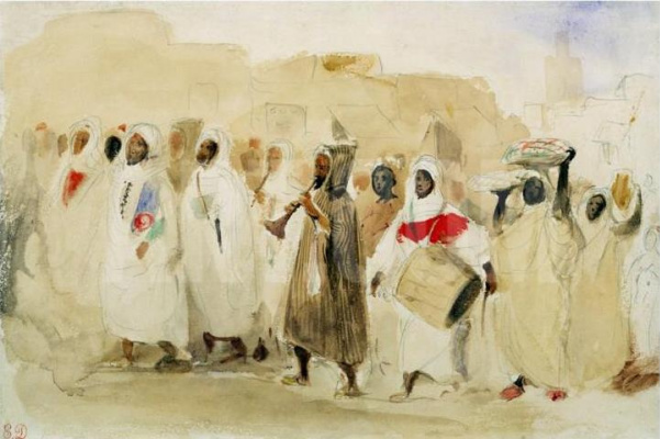 Eugene Delacroix. Procession of musicians in Tangier