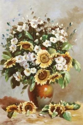 Savely Kamsky. Bouquet with sunflowers
