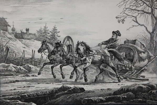 Alexander Osipovich Orel. The journey in the wagon, drawn by three