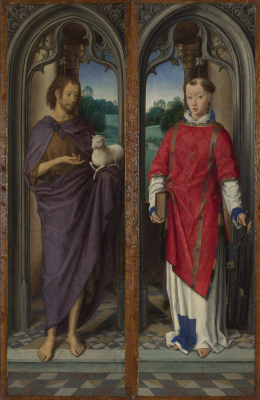 Hans Memling. Saint John the Baptist and Saint Lawrence. Triptych, Magagnotti. Left and right wing