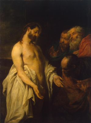 Anthony van Dyck. The appearance of Christ to the disciples Disbelief (Thomas)