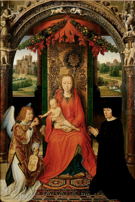 Hans Memling. Small triptych of St. John the Baptist. Central panel: Mary with child on a throne, the angel and the unknown donator