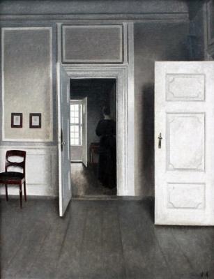 Vilhelm Hammershøi. The interior is in the open door. Stranddheed, 30