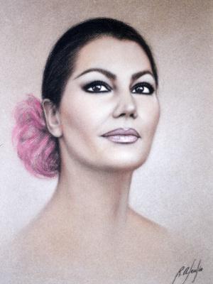 Рикардо Асенсио. Женский портрет с розовым бантом в волосах