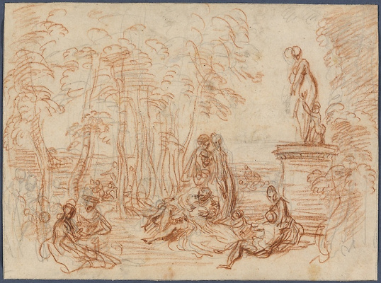 """Antoine Watteau. Study for """"the Feast of Love"""""""