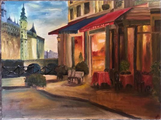 Anna Konstantinovna Pozdeeva. Cafe in Paris