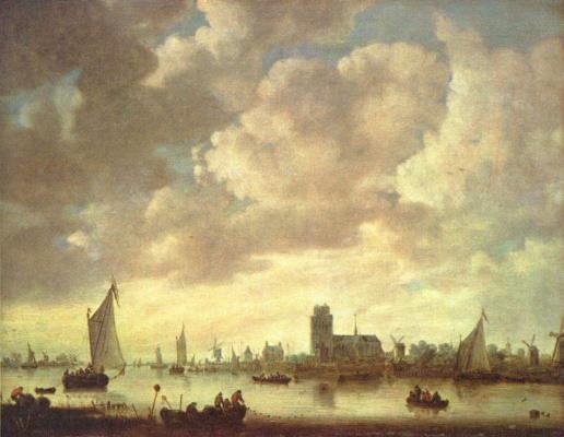 Jan van Goyen. View of the Merwede by Dordrecht under