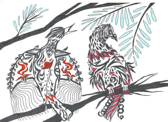 "Николай Николаевич Оларь. Series of stylized drawings, ""Birds"" (10)"