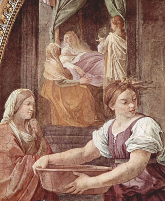 Guido Reni. The frescoes in the Palazzo Quirinale, Cappella Dell'annunziata, the wall with the entrance scene: the Birth of Mary, detail