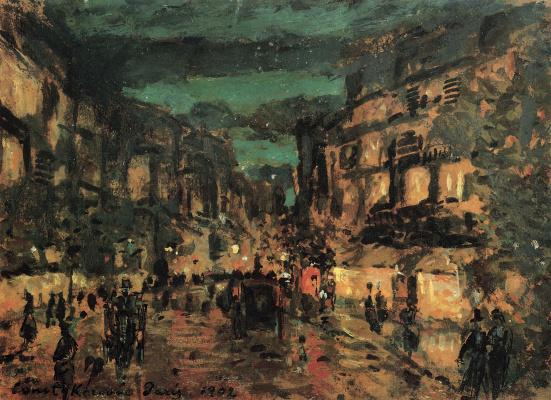 Konstantin Korovin. Night street. Paris