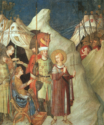 Simone Martini. Saint Martin renounces the sword