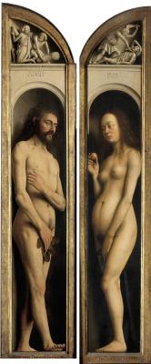 Jan van Eyck. The Ghent altarpiece. Adam and eve (detail)