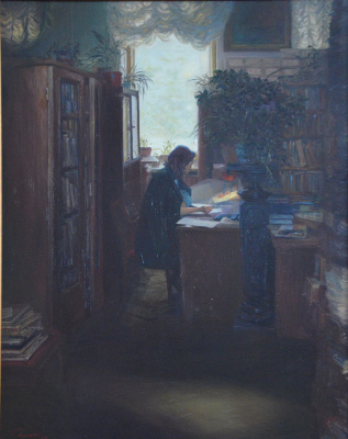 Valerij Ivanovich Sosna. In the library of the museum