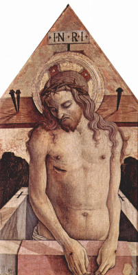 Carlo Crivelli. The Crucified Christ. The altar of the Church of San Silvestro at Massa Fermanagh, Central finial