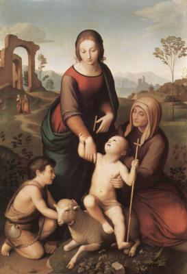 Иоганн Фридрих Овербек. Мария и Елизавета с младенцами Иисусом и Иоанном