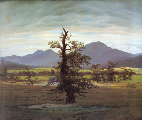 Caspar David Friedrich. Landscape with a lonely tree