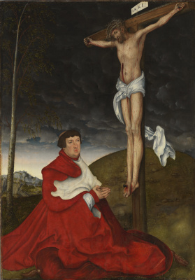 Lucas Cranach the Elder. Crucifixion with cardinal Albrecht von Brandenburg
