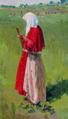 Иван Семенович Куликов. Крестьянка с граблями. 1909