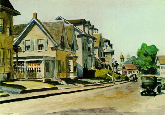 Edward Hopper. Sun on Prospect street (Gloucester, mA)