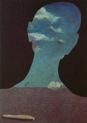 Человек с полной облаков головой