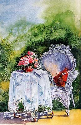 Джорджия Калавроузиотис. Белая скатерть на столе