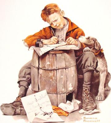 Norman Rockwell. A little boy writes a letter