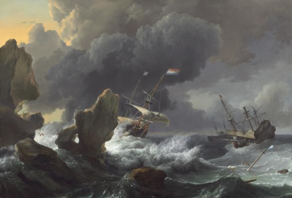 Корабли терпят крушение у скалистого берега
