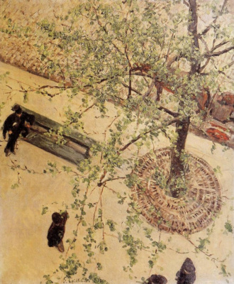 Gustave Caillebotte. Boulevard, view from above