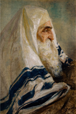 "Vasily Dmitrievich Polenov. Rabbi Hillel. Portrait sketch ""the Old Jew"" painting ""Among teachers"""