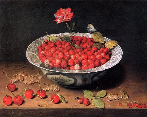 Jakob van Hülsdonk. Strawberries and cloves in a bowl