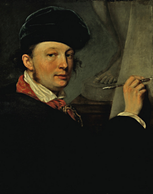 Alexander Grigorievich Varnek. Self-portrait in velvet beret, with a razdefer in hands. State Tretyakov Gallery, Moscow