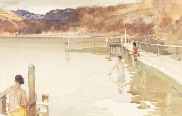 William Russell Flint 1880 - 1969 Scotland. The girl in the blue swimming cap.