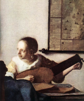 Jan Vermeer. Woman with a lute. Fragment