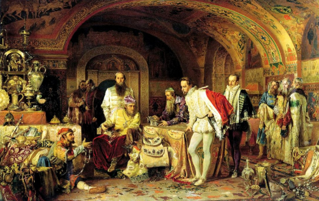 Alexander Dmitrievich Litovchenko. Ivan the terrible shows his treasures to the English Ambassador Horsey