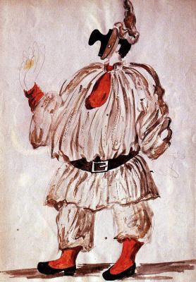 """Pablo Picasso. Costume design for the ballet """"Pulcinella"""""""