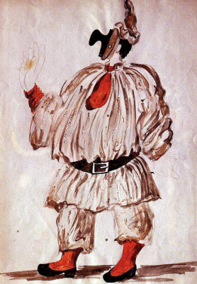 "Пабло Пикассо. Эскиз костюма к балету ""Пульчинелла"""